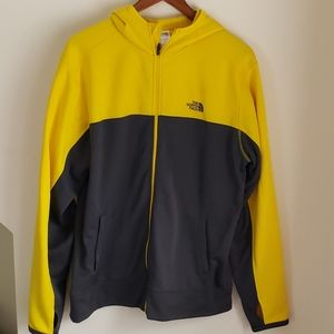 North Face Zip Up Hoodie - Yellow & Gray